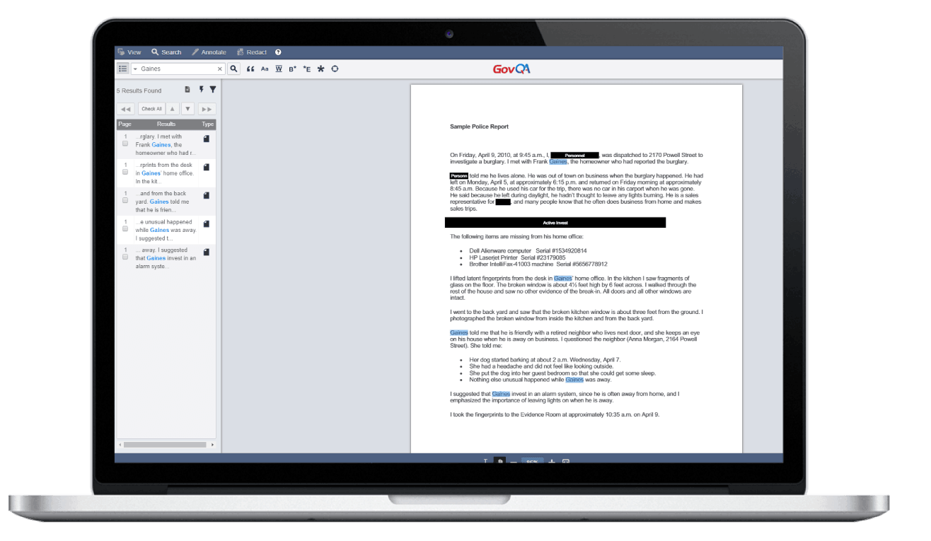 GovQA public records software document redaction tool on macbook pro