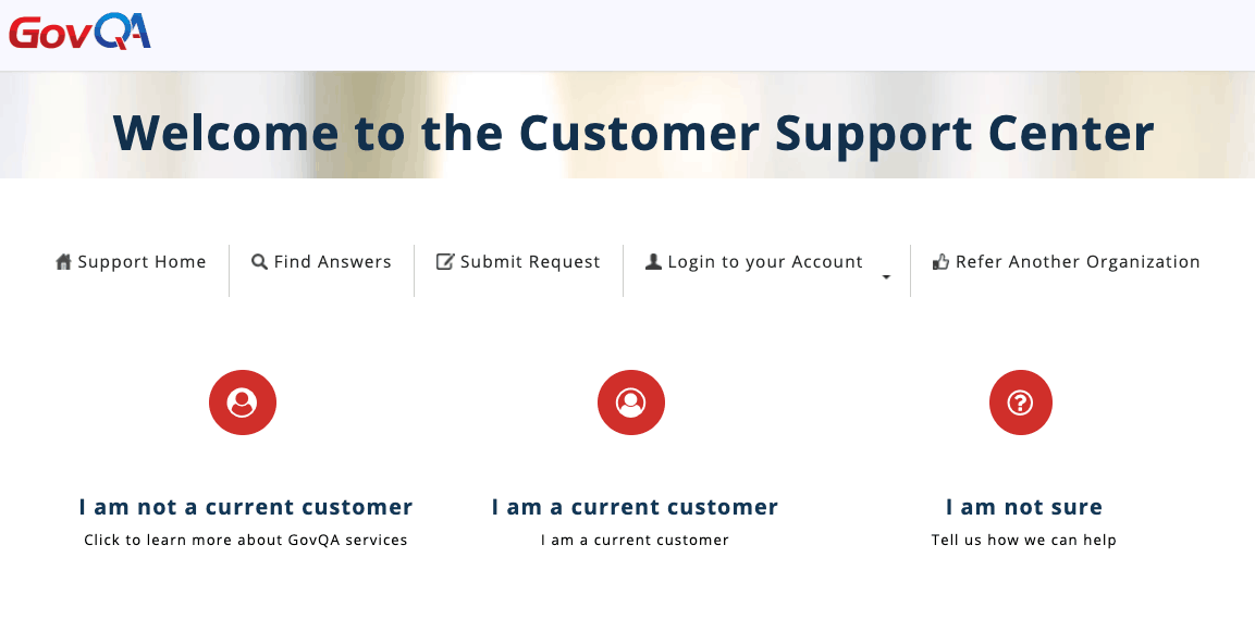 govqa customer resources support center ticket submission screenshot