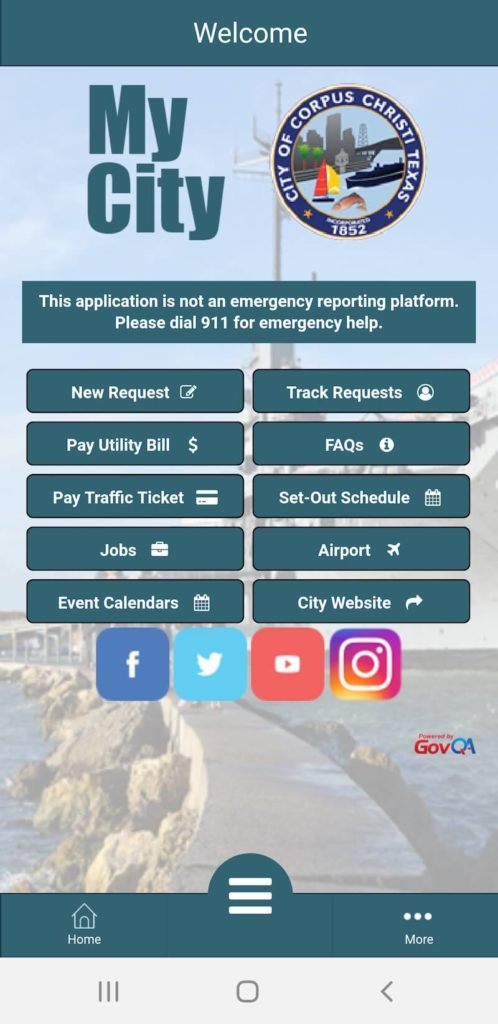 Screenshot of GovQA City of Corpus Christi MyCity Mobile Application