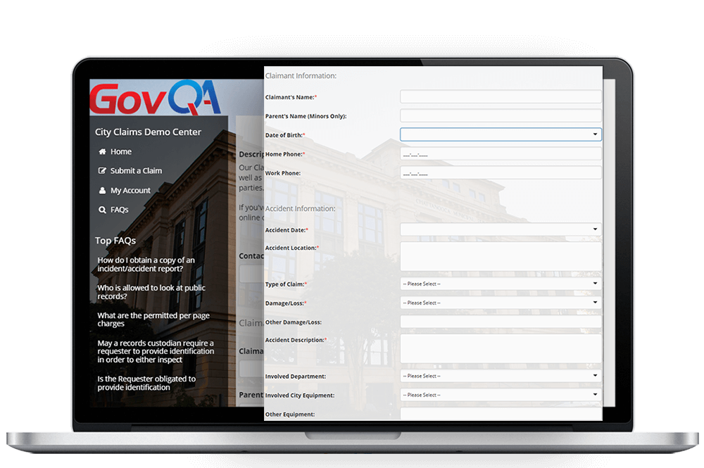 govqa claims management software comprehensive web portal on macbook pro