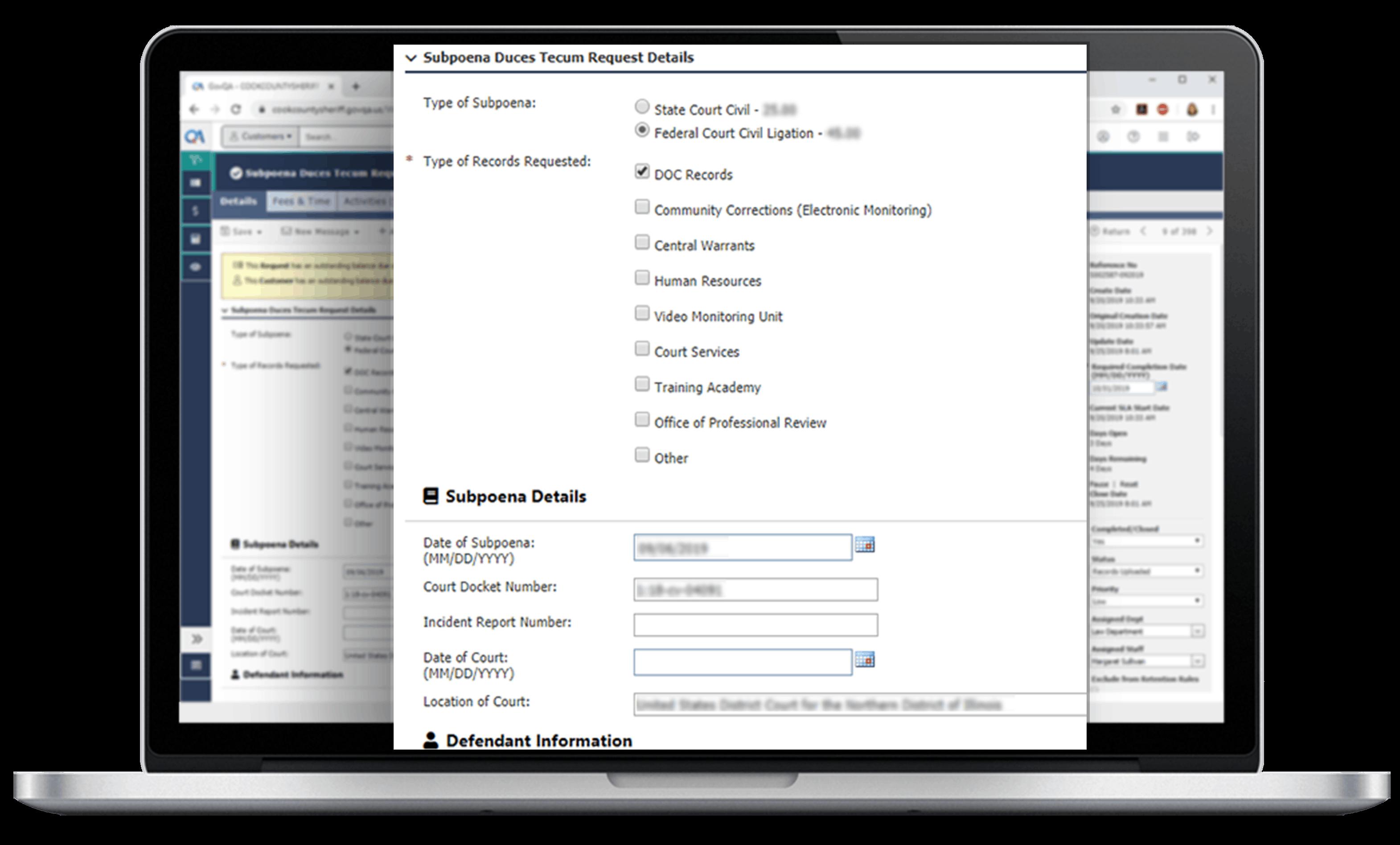 macbook pro submit subpoena on govqa subpoena request management