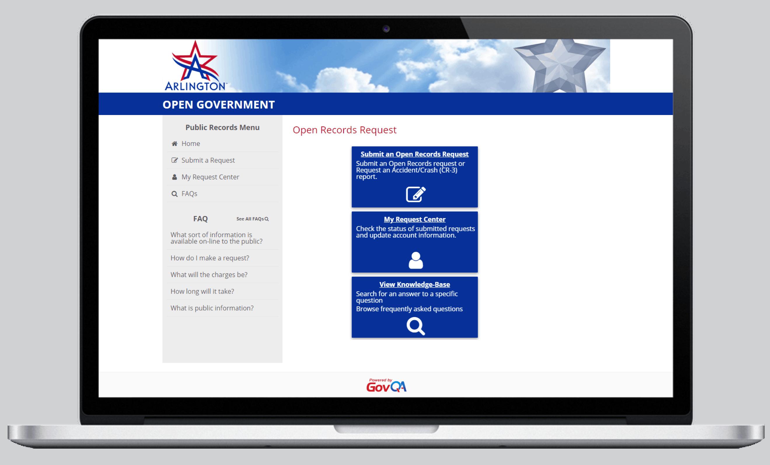 Arlington PD Public Portal Screenshot