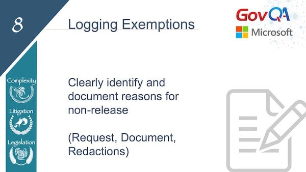 GovQA Slay The Public Records Dragon Presentation Slides Logging Exemptions