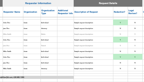 Spreadsheet to Track Public Records Requests Screenshot